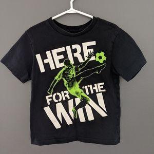 Black short sleeved soccer print t-shirt